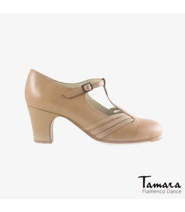 flamenco shoes professional for woman - Begoña Cervera - Class beige leather classic heel