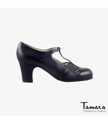 flamenco shoes professional for woman - Begoña Cervera - Class black leather classic heel