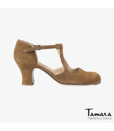 flamenco shoes professional for woman - Begoña Cervera - Clasico Español III brown suede carrete