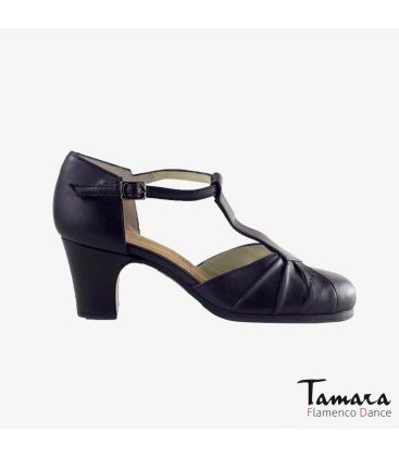 flamenco shoes professional for woman - Begoña Cervera - Clásico Español IV black leather classic heel