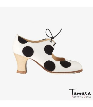 flamenco shoes professional for woman - Begoña Cervera - Lunares Cordones white leather black suede carrete wood