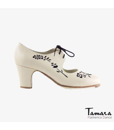 flamenco shoes professional for woman - Begoña Cervera - Bordado Cordonera (embroidered) chino leather classic heel