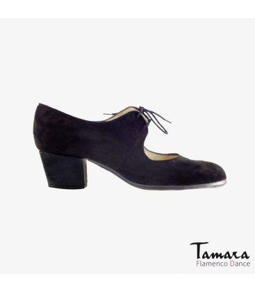flamenco shoes professional for woman - Begoña Cervera - Cordonera black suede cubano heel
