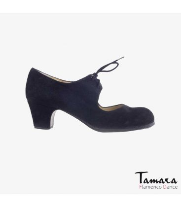 flamenco shoes professional for woman - Begoña Cervera - Cordonera black suede classic 5cm heel