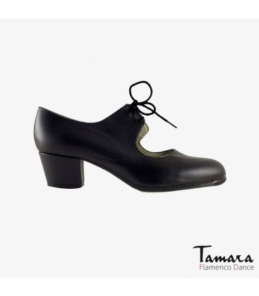 flamenco shoes professional for woman - Begoña Cervera - Cordonera black leather cubano heel