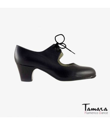 flamenco shoes professional for woman - Begoña Cervera - Cordonera black leather classic 5cm heel