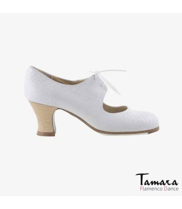 flamenco shoes professional for woman - Begoña Cervera - Cordonera white snakeskin carrete wood