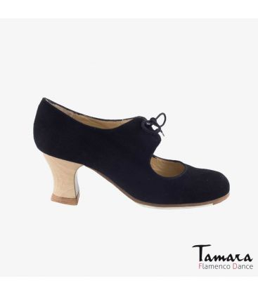 flamenco shoes professional for woman - Begoña Cervera - Cordonera black suede carrete wood