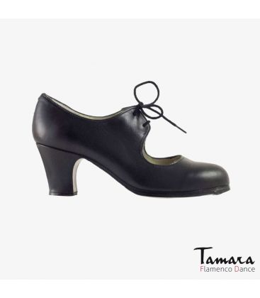 flamenco shoes professional for woman - Begoña Cervera - Cordonera black leather classic heel