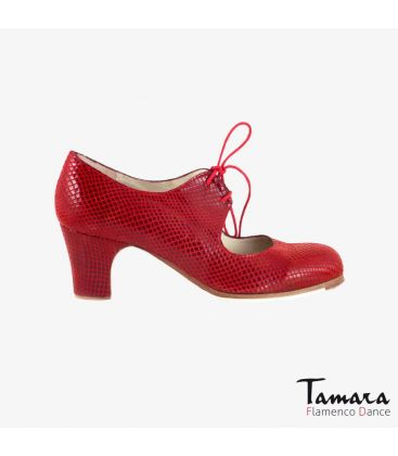 flamenco shoes professional for woman - Begoña Cervera - Cordonera red snakeskin classic heel