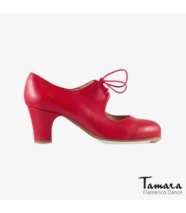flamenco shoes professional for woman - Begoña Cervera - Cordonera red leather classic heel
