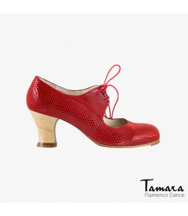 flamenco shoes professional for woman - Begoña Cervera - Cordonera red snakeskin carrete wood
