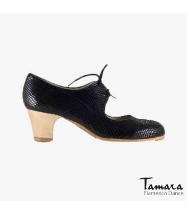 flamenco shoes professional for woman - Begoña Cervera - Cordonera black snakeskin classic 5cm heel