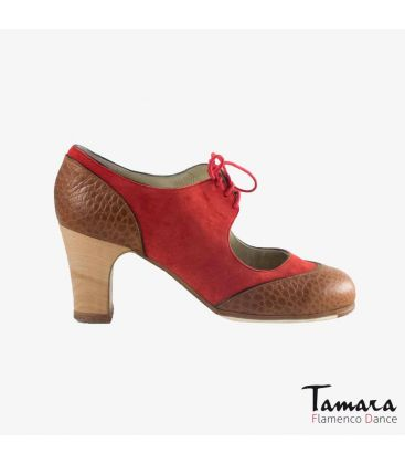 flamenco shoes professional for woman - Begoña Cervera - Cordoneria red suede brown alligator classic 7cm wood heel