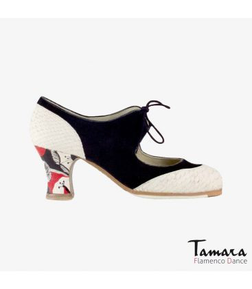 flamenco shoes professional for woman - Begoña Cervera - Cordoneria black suede white snakeskin carrete painted