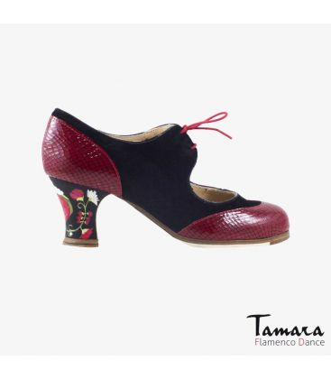 flamenco shoes professional for woman - Begoña Cervera - Cordoneria black suede red snakeskin carrete painted