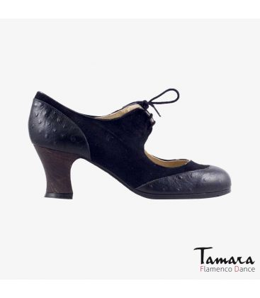 flamenco shoes professional for woman - Begoña Cervera - Cordoneria black suede black ostrich skin carrete dark wood