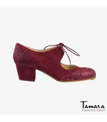 flamenco shoes professional for woman - Begoña Cervera - Cordoneria bordeaux suede and alligator cubano heel