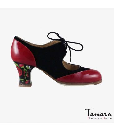 flamenco shoes professional for woman - Begoña Cervera - Cordoneria black suede red patent leather carrete painted