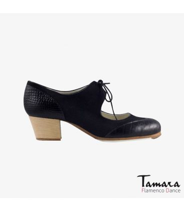 flamenco shoes professional for woman - Begoña Cervera - Cordoneria black suede black snakeskin cubano wood heel