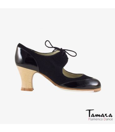 flamenco shoes professional for woman - Begoña Cervera - Cordoneria black suede black patent leather carrete wood heel