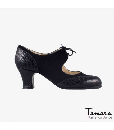 flamenco shoes professional for woman - Begoña Cervera - Cordoneria black suede black snakeskin carrete