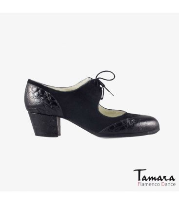 flamenco shoes professional for woman - Begoña Cervera - Cordoneria black suede black alligator cubano heel
