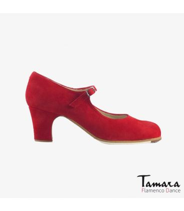 flamenco shoes professional for woman - Begoña Cervera - Correa red suede classic heel