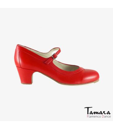 flamenco shoes professional for woman - Begoña Cervera - Salon Correa red leather classic 5 cm heel