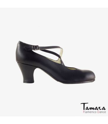 flamenco shoes professional for woman - Begoña Cervera - Cruzado black leather carrete