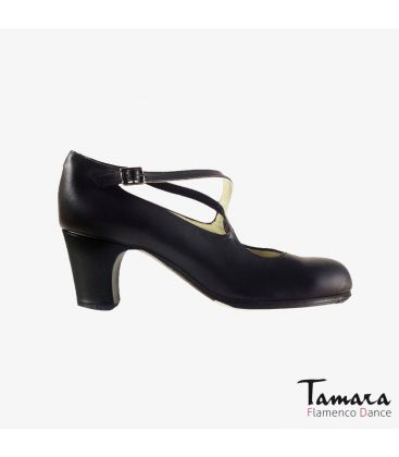 flamenco shoes professional for woman - Begoña Cervera - Cruzado black leather classic heel