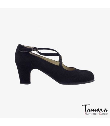 flamenco shoes professional for woman - Begoña Cervera - Cruzado black suede classic heel