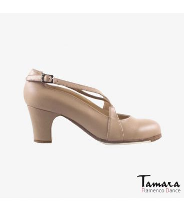 flamenco shoes professional for woman - Begoña Cervera - Cruzado II beige leather classic heel
