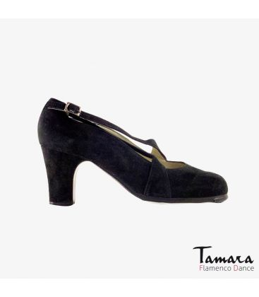 flamenco shoes professional for woman - Begoña Cervera - Cruzado II black suede classic 7cm heel