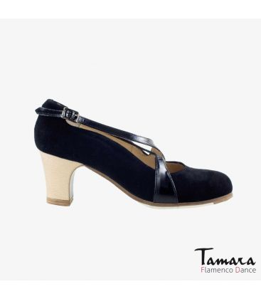 flamenco shoes professional for woman - Begoña Cervera - Cruzado II black suede and patent leather classic wood heel