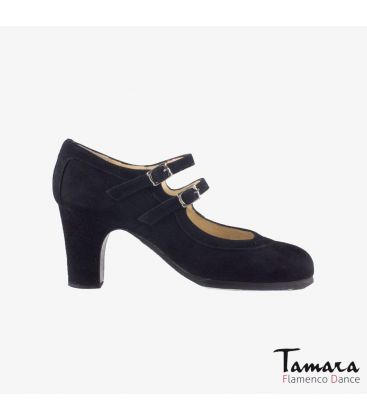 flamenco shoes professional for woman - Begoña Cervera - 2 Correas black suede classic 7cm heel