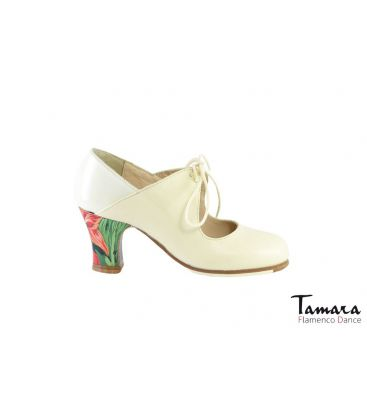 flamenco shoes professional for woman - Begoña Cervera - Arty leather and patent leather chino carrete painted heel