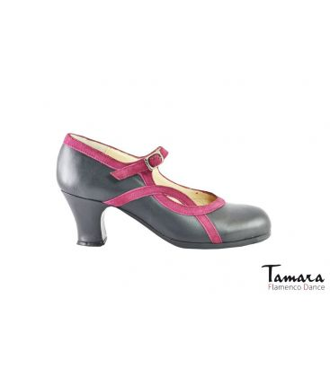 flamenco shoes professional for woman - Begoña Cervera - Arco I grey leather fuchsia suede carrete