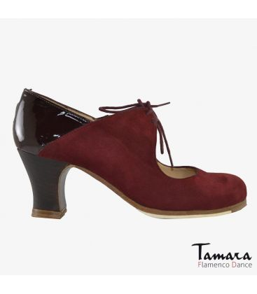 flamenco shoes professional for woman - Begoña Cervera - Arty bordeaux suede and patent leather carrete dark wood