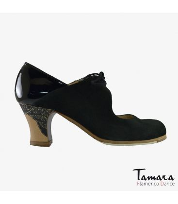 flamenco shoes professional for woman - Begoña Cervera - Arty black suede and patent leather carrete painted