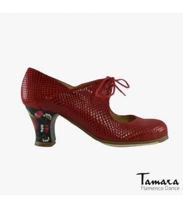flamenco shoes professional for woman - Begoña Cervera - Arty red snakeskin carrete painted