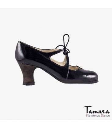 flamenco shoes professional for woman - Begoña Cervera - Dulce black patent leather carrete dark wood