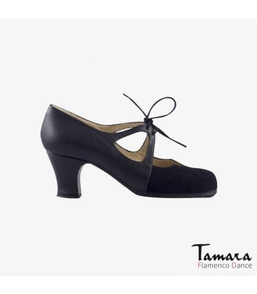 flamenco shoes professional for woman - Begoña Cervera - Dulce black leather and patent leather carrete