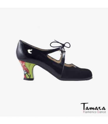 flamenco shoes professional for woman - Begoña Cervera - Dulce black suede and patent leather carrete painted