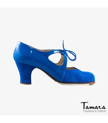 flamenco shoes professional for woman - Begoña Cervera - Dulce blue suede and patent leather carrete