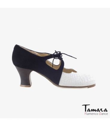 flamenco shoes professional for woman - Begoña Cervera - Dulce black suede and white snakeskin carrete dark wood