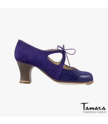 flamenco shoes professional for woman - Begoña Cervera - Dulce purple suede and snakeskin carrete dark wood
