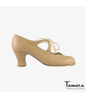 flamenco shoes professional for woman - Begoña Cervera - Dulce beige leather carrete