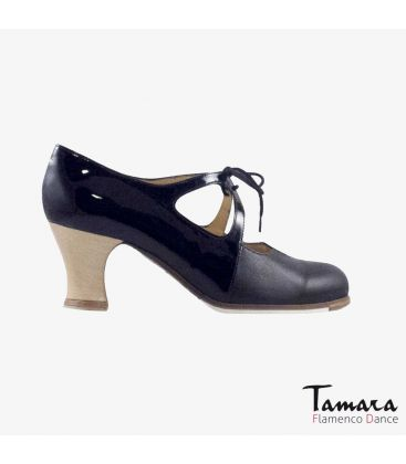 flamenco shoes professional for woman - Begoña Cervera - Dulce black leather and patent leather carrete wood