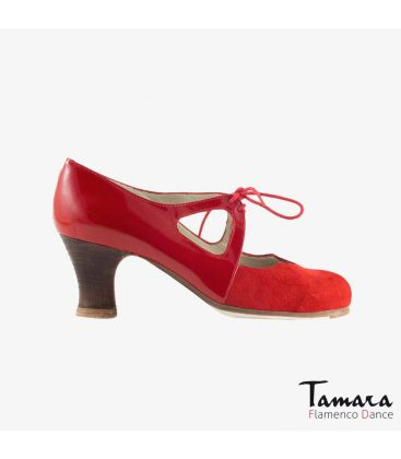 flamenco shoes professional for woman - Begoña Cervera - Dulce red suede and patent leather carrete dark wood